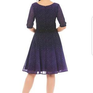 Eshakti Ombre Blue Star Georgette Sash Dress